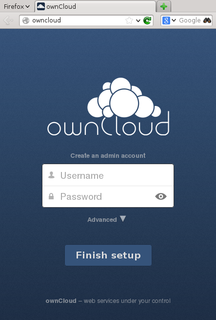 ownCloud installation screen
