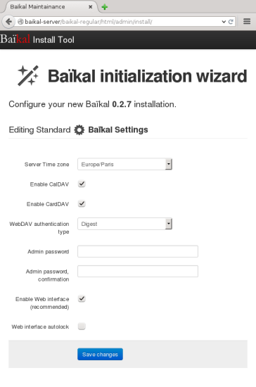 The 'Baikal Installation wizard' guides you through the setup