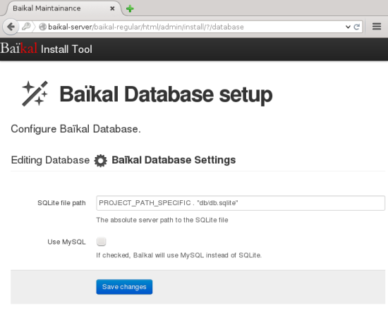 Baikal can use a SQLite or a MySQL database backend